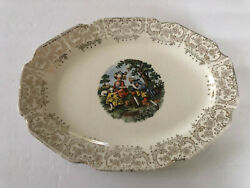 Sabin China Sab4 Gold Filigree Colonial Couple People - Oval Serving Platter