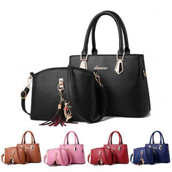 2set Women#x27;s PU Leather Handbag Shoulder Large Capacity Tote Purse Messenger Bag $21.99