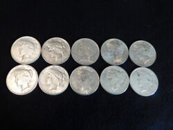 1923 P-d-s Peace Silver Dollars 1/2 Roll 10 Coins Xf-au L2