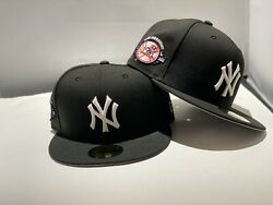 New York Yankees Black Cap White Logo 100th Anniversary Patch New Era Fitted