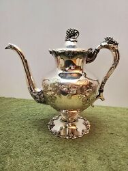 Egw And S Hand Chased Tea Pot, Stunning Silver Plate. Eg Webster And Son