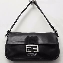 RARE Fendi Baguette Black Lambskin Leather Silver FF Logo Shoulder Crossbody Bag