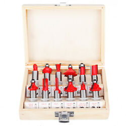 12pcs 14 or 12 Inch Shank Tungsten Carbide Router Bit Set With Wooden Case
