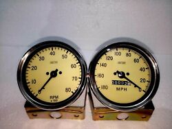 Smiths Replica 100 Mm Speedometer 180 Mph Anti Clock With Tachometer Clock Wise