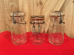 Vintage 2 Wheaton Clear Glass Wire Bail Canister/jar Embossed Fruit-1 Italy