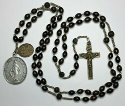 † Scarce Antique Seven Decade Franciscan Bovine Rosary Necklace 42 And Medals †