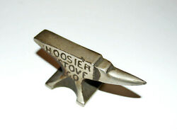 Vintage Antique Miniature Anvil Advertising Paperweight Hoosier Stove Co Marion