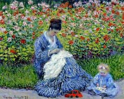 Camille Monet And A Child By Claude Monet Art Painting Paint By Numbers Kit Diy