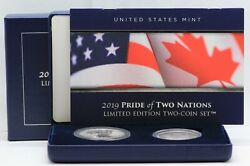 2019 Pride Of Two Nations 2-coin Set Silver Eagle Maple Us And Canadian Signed Coa