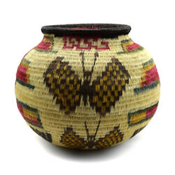 Contemporary Panamanian Polychrome Basket With Butterfly Design 5.5 X 6