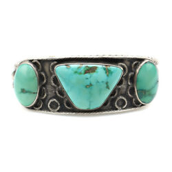 Navajo Turquoise And Silver Bracelet, Size 6.5, C. 1920s