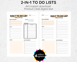 To do List Printable PDF Add Text Digital Download A4 To Do List Template
