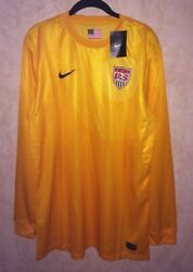 Nike Us National Team Gold Yellow Authentic Gk Goalkeeper Soccer Jersey Mens Xl