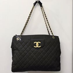 Vintage Chanel Supermodel Gold GHW Shoulder Neverfull GM Carryall Bag 90s France