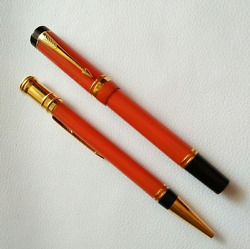 Parker Duofold Set Special Edition Orange Rollerball Pen And 0.9 Pencil New In Box