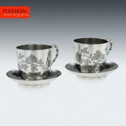Antique 19thc Chinese Export Solid Silver Tea Cups Yang Qing He C.1880