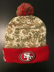New San Francisco 49ers New Era Beanie/cap Salute To Service Camo/red Nfl 1 Size