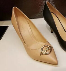 Coach Audrey Nude Beige Leather Pump Heels Gold Metal Hardware Nwt Size 9