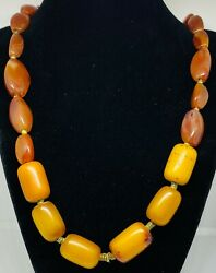 Antique Ethiopian Burned Fatty Amber And Carnelian African Trade Bead Strand