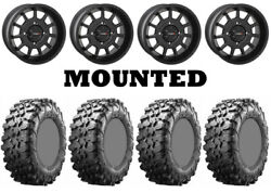 Kit 4 Maxxis Carnivore Tires 28x10-14 On System 3 St-5 Matte Black Wheels Can