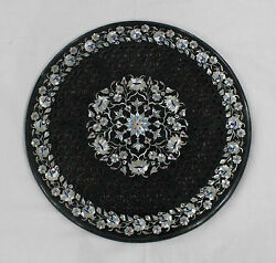 33 Black Round Marble Dining Coffee Center Round Table Top Mosaic Inlay Work1