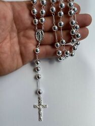 Menand039s Large Rosary Beads Necklace Solid 925 Sterling Silver Rosario Italy 8mm