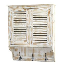 """32"""" Rustic-styled Home White Washed Wall Cabinet With Hooks Bathroom Cupboard"""