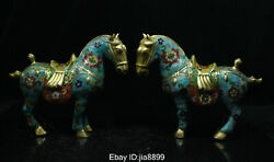 China Chinese Bronze Cloisonne Enamel Lucky Animal War Horse Statue Pair 05
