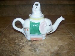 Vintage Elephant Teapot Hand Painted Miniature Trunk Up And Figural Lid Ceramic
