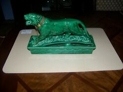 Vintage Lane And Co. Jade Green Panther Ceramic Tv Planter From 1950's