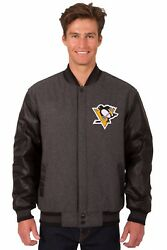 Pittsburgh Penguins Wool And Leather Reversible Jacket With Embroidered Logos Gray