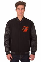 Baltimore Orioles Wool And Leather Reversible Jacket With Embroidered Logos Black