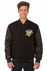 Pittsburgh Penguins Wool And Leather Reversible Jacket With Embroidered Logos Blck