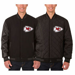 Kansas City Chiefs Wool And Leather Reversible Jacket With Embroidered Logos Jhd