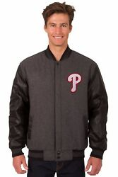 Philadelphia Phillies Wool And Leather Reversible Jacket With Embroidered Logos