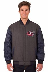 Columbus Blue Jacket Wool And Leather Reversible Jacket With Embroidered Logos