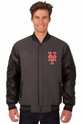 Mlb New York Mets Wool And Leather Reversible Jacket With Embroidered Logos Gray