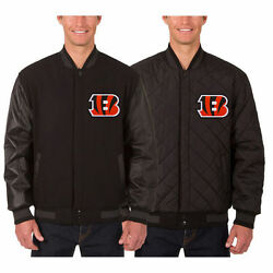 Cincinnati Bengals Wool And Leather Reversible Jacket With Embroidered Logos Jhd