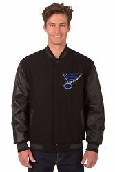 Nhl St Louis Blues Wool And Leather Reversible Jacket With Embroidered Logos Black