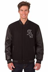 Mlb Chicago White Sox Wool And Leather Reversible Jacket 2 Front Logos Black