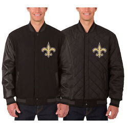 New Orleans Saints Wool And Leather Reversible Jacket With Embroidered Logos Black