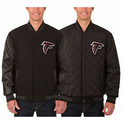 Atlanta Falcons Wool And Leather Reversible Jacket With Embroidered Logos Black