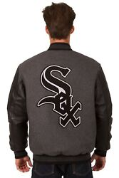 Chicago White Sox Wool And Leather Reversible Jacket With Embroidered Logos Gray
