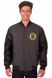 Nhl Boston Bruins Wool And Leather Reversible Jacket With Embroidered Logos Gray