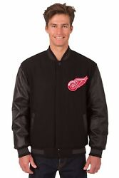 Detroit Red Wings Wool And Leather Reversible Jacket With Embroidered Logos Black