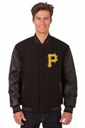 Mlb Pittsburgh Pirates Wool And Leather Reversible Jacket Embroidered Logos Black