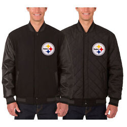 Pittsburgh Steelers Wool And Leather Reversible Jacket With Embroidered Logos