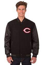 Mlb Cincinnati Reds Wool And Leather Reversible Jacket With Embroidered Logos Blck