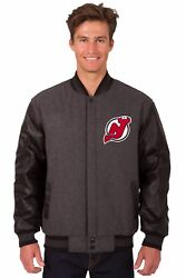 Nhl New Jersey Devils Wool And Leather Reversible Jacket With Embroidered Logos