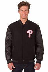 Mlb Philadelphia Phillies Wool And Leather Reversible Jacket Embroidered Logos